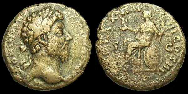 As de Marco Aurelio. TR P XX IMP III COS III - S C. Roma sedente. Ceca Roma. RIC_0920