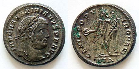 Nummus o follis de Maximiano Hércules. GENIO POPVLI ROMANI. Heraclea _heraclea_RIC_019b.3