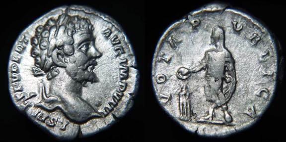 Denario de Septimio Severo. VOTA PVBLICA. Septimio Severo estante. RIC_0096a.4