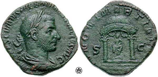 Sestercio de Treboniano Galo. IVNONI MARTIALI /S C. Templo RIC_0110a