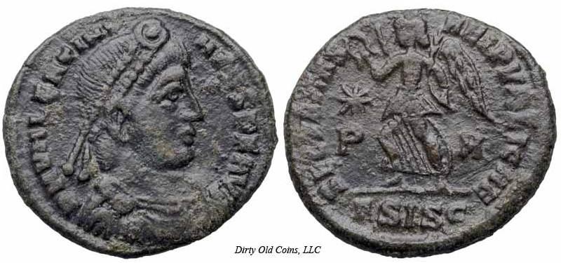 AE3 de Valentiniano I. SECVRITAS REI PVBLICAE. Siscia. Variante del tipo xviia _siscia_RIC_015a_xvii-a