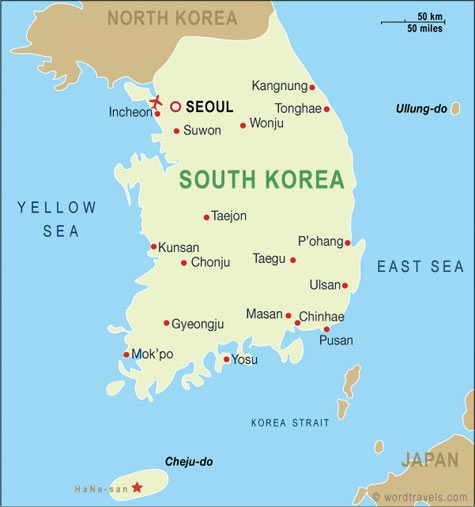 [✔] République de Corée - Daehan Minguk South_Korea_map
