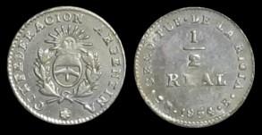 Argentina (La Rioja), 1/2 Real, 1854. 7-25