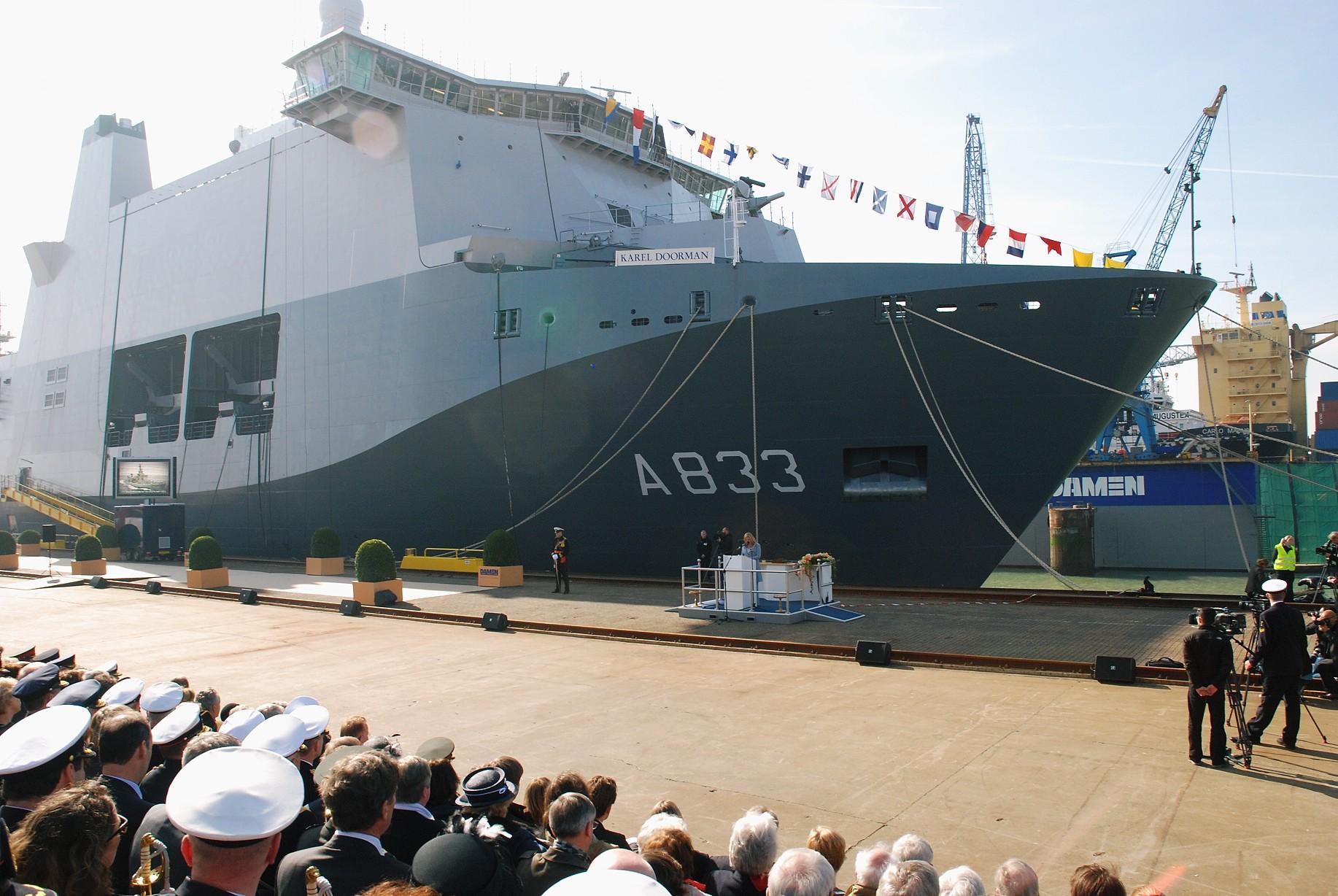 New Dutch naval vessel HNLMS Karel Doorman Doop-JSS-Karel-Doorman-1