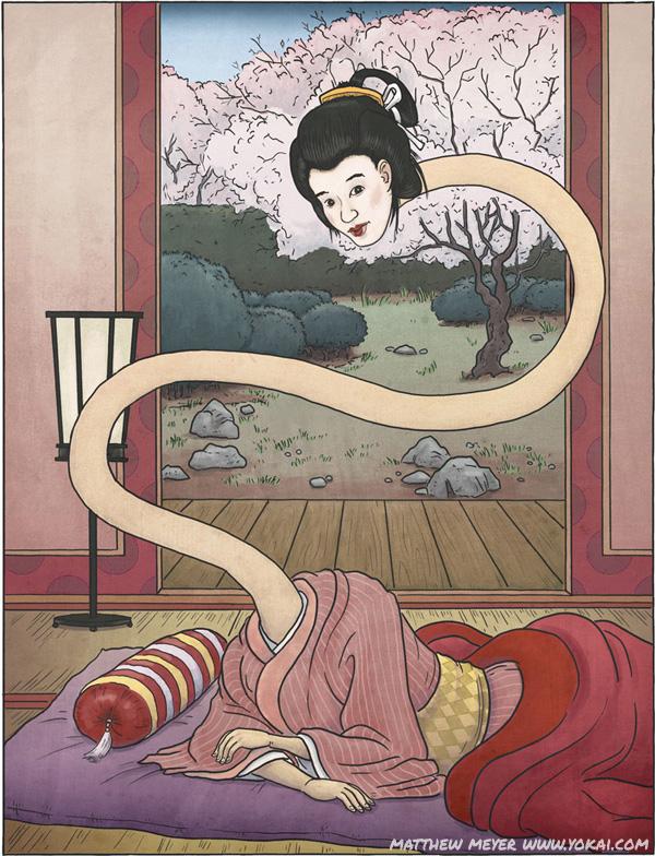 Japanische Sagen, Mythen und die yokais 053-rokurokubi