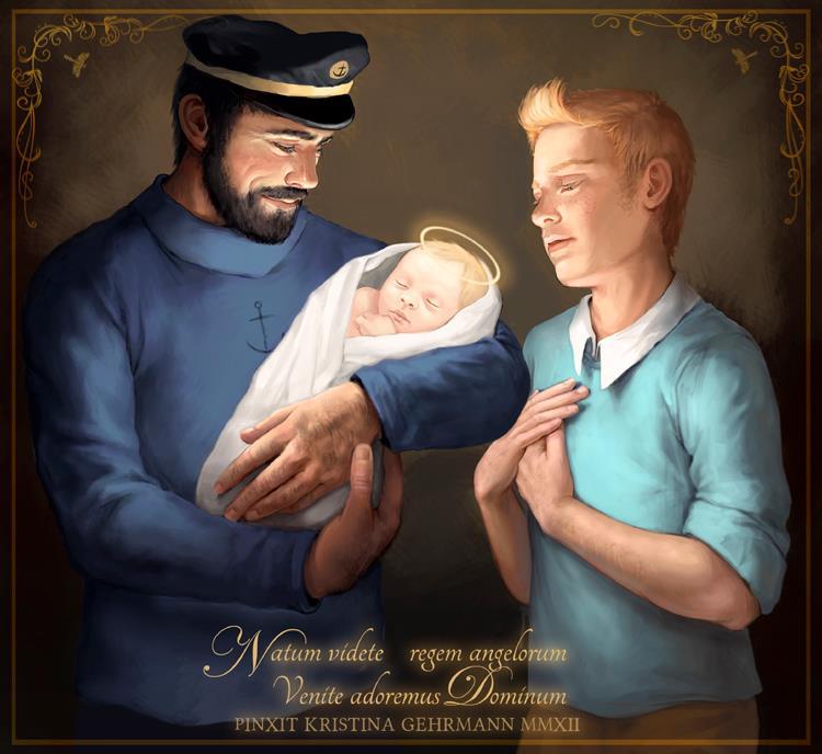 """Le Noël de Tintin, en un temps où la ferveur religieuse était plus importante que la ferveur """"acheteuse"""". Kristina_Gehrmann_tintin_noel_nativite"""