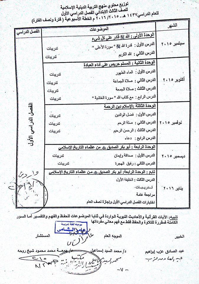 توزيع محتوى منهج التربية الاسلامية للصف الثالث الابتدائى 2015/2016 583788458