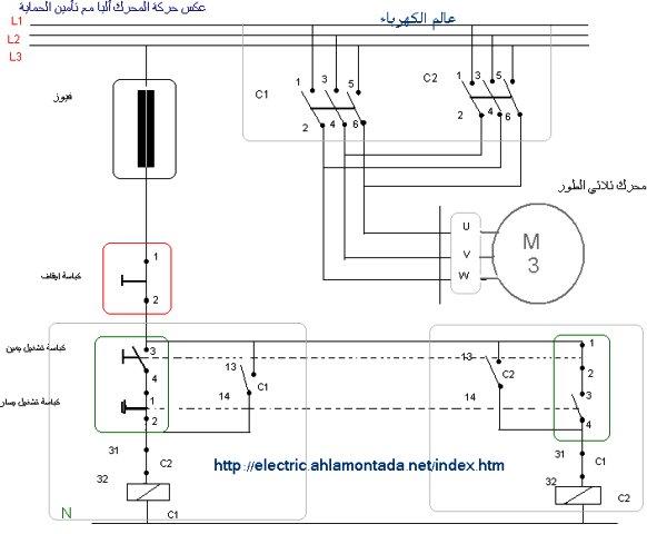مخطط عكس حركة المحرك أليا مع تأمين الحماية  362747835