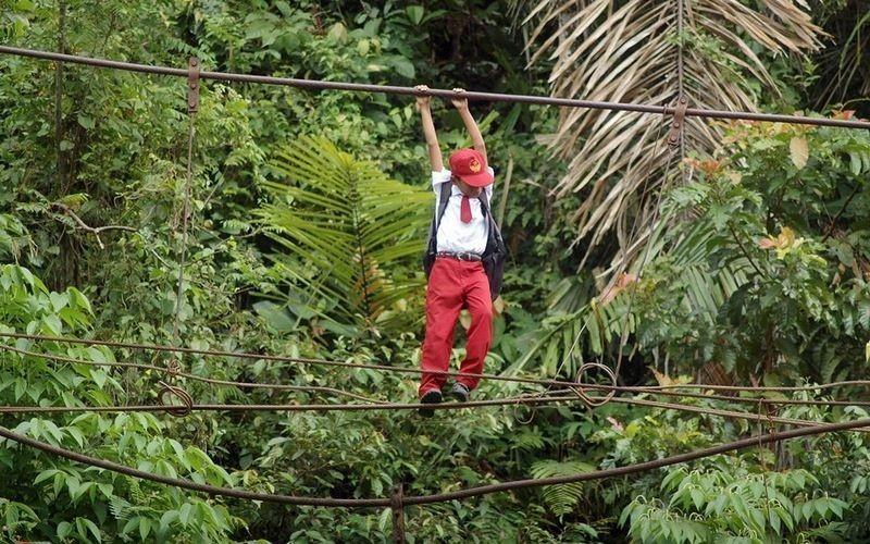 اندونيسيا صور أطفال يعرضون أنفسهم للخطر لأجل الدراسة 306252697