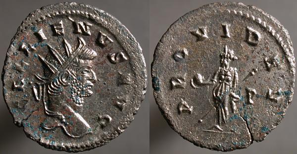 Antoniniano de Galieno. PROVID AVG. Providentia estante a izq.  Erf_ri3450