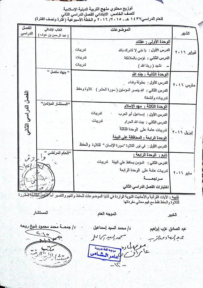 توزيع منهج التربية الاسلامية للصف الخامس الابتدائى 2019 606168389