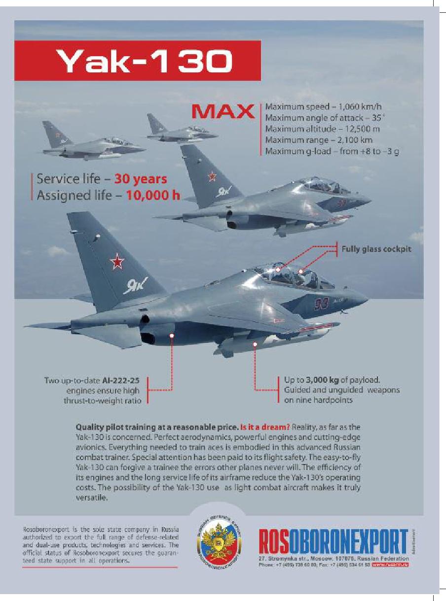 """ممثلو جيوش أجنبية يرجون تطوير طائرة التدريب """"ياك-130"""" إلى مقاتلة Yak-130-jet-fighter-aircraft-trainer-mil-avia"""