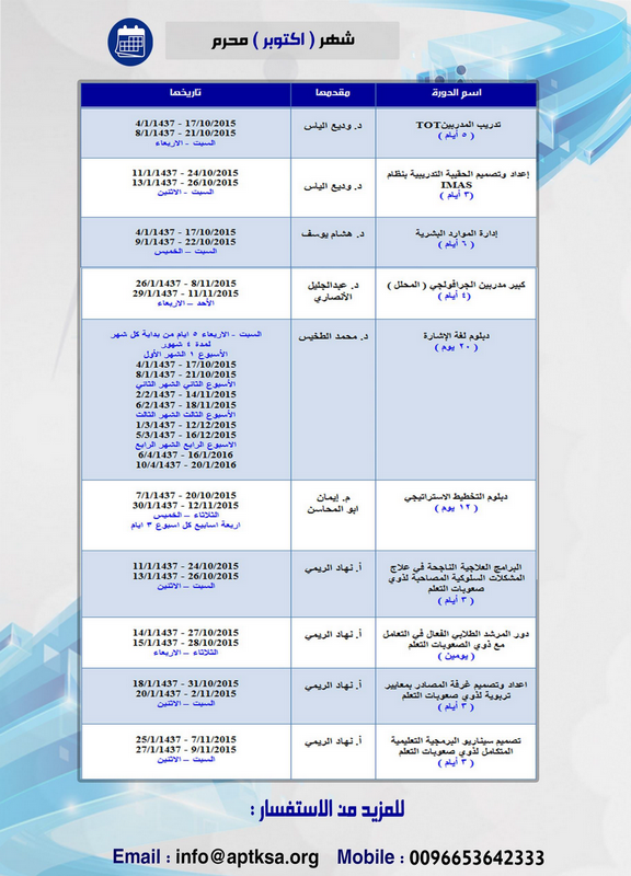 الخطة التدريبية للنصف الثاني من العام 2015 م 282132901