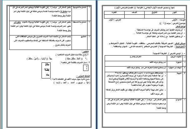 نموذج تحضير لغة عربية للأول الإبتدائى حرف الألف ورد2016 قرائية نموذجية 997113906