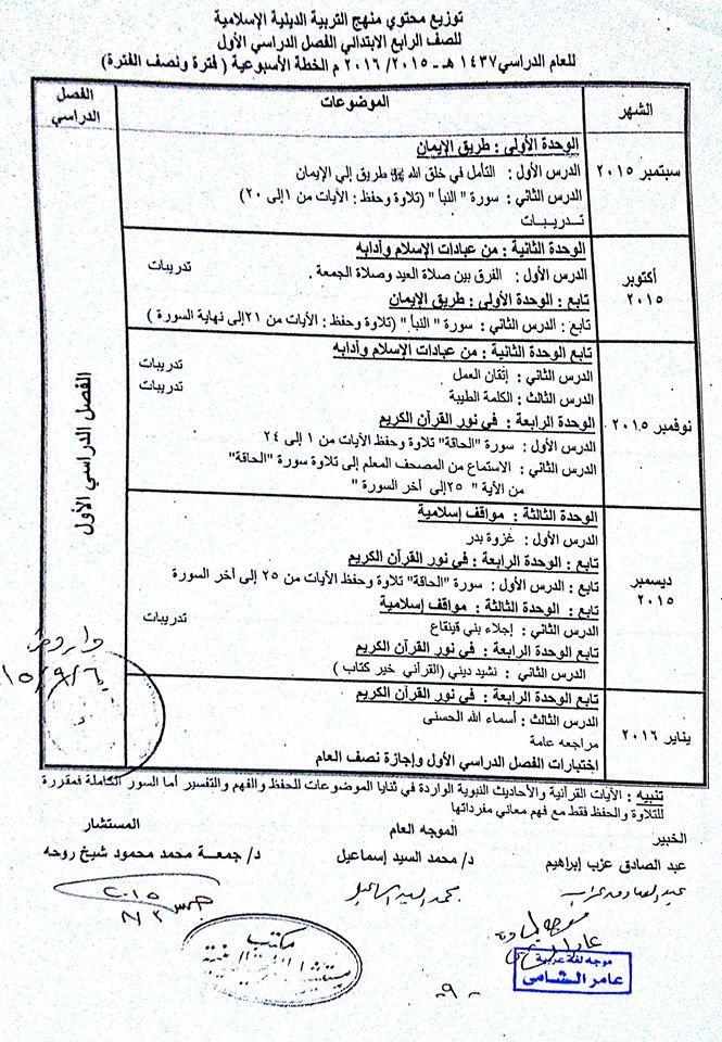 توزيع محتوى منهج التربية الدينية الاسلامية 2019/2020 للصف الرابع الابتدائى 652692156