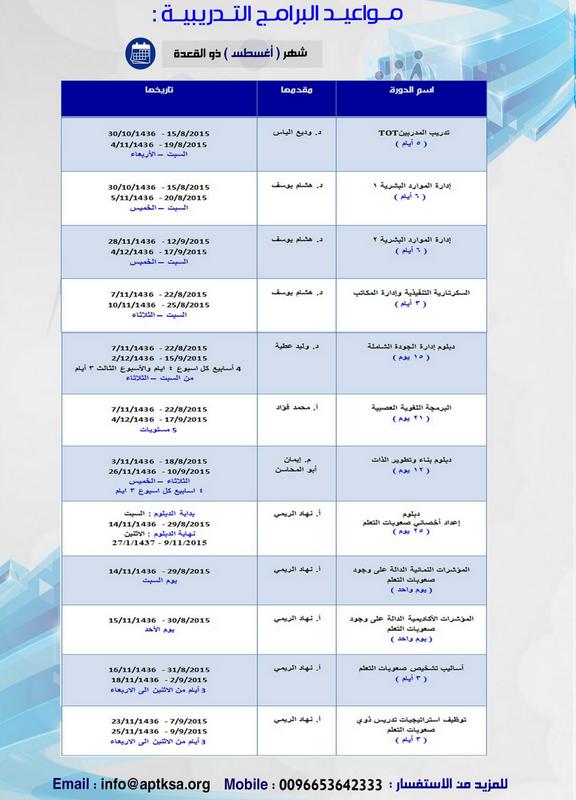 الخطة التدريبية للنصف الثاني من العام 2015 م 481345174