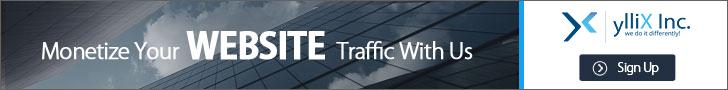 من yllix الشركة المنافسة لقوقل ادسنس .الريح جاد وسريع الحد الادني للدفع 1دولار 720x90
