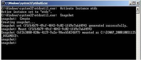 Active Directory Snapshots Windows 2008 10
