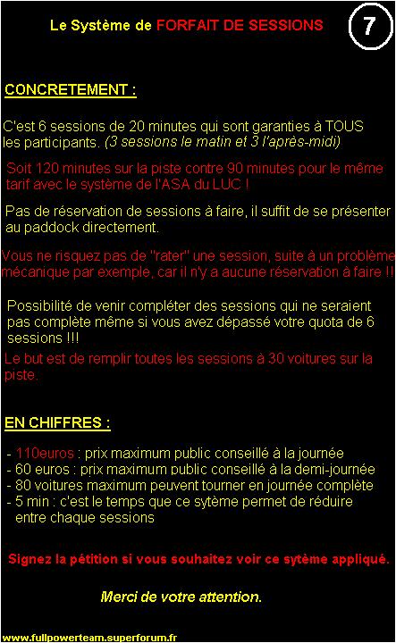 Pétition : SYSTEME DE FORFAIT DE SESSIONS applicable au LUC 7