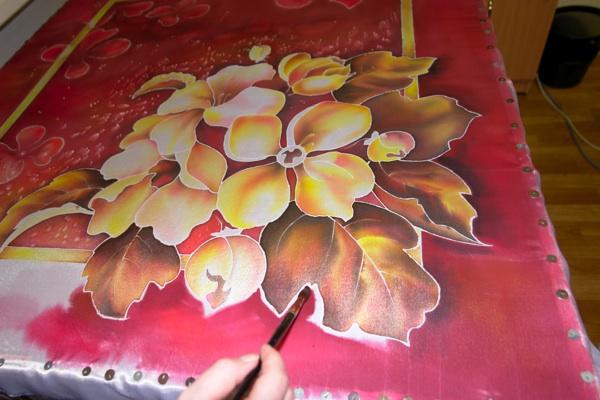 Рисуем платок в технике холодного батика Batik_20