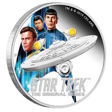 Perth Mint [pièces en argent] 4997-Star-Trek-Enterprise-Crew-2019-2oz-Silver-Proof-Coin-On-Edge