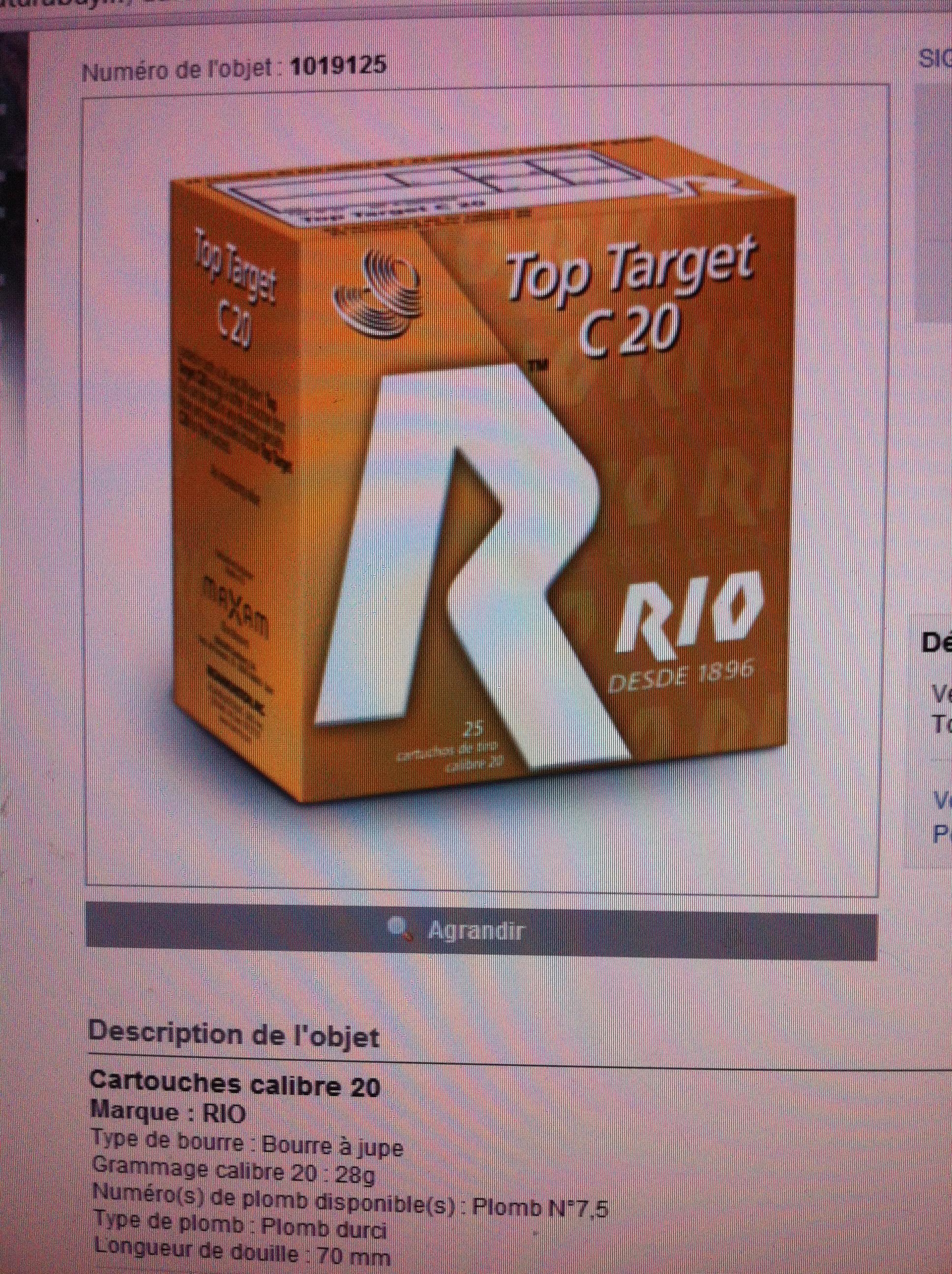 Cartouche Rio top target cal 20 ... 1361876135-iphone-image-02-26-2013