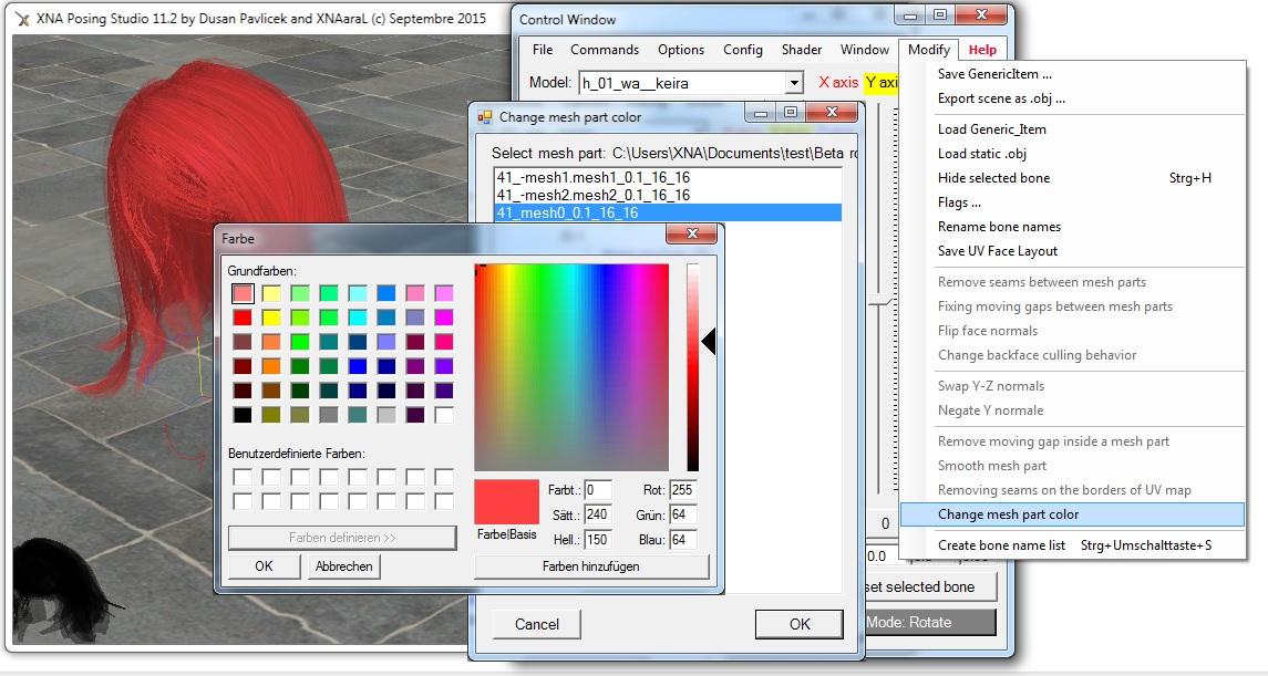 XNA Posing Studio XPS 11.2 -- Wild Hunt Edition -- release 179 1442297146-change-mesh-part-color