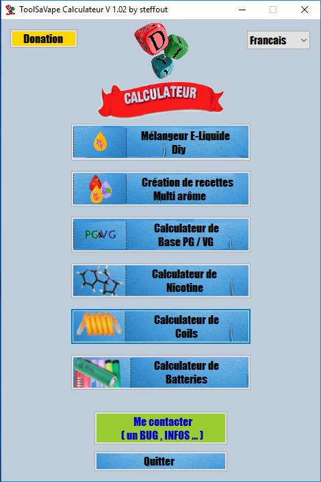 Nouveau logiciel ToolSaVape CalculateurV1.0.2 1500995182-menu