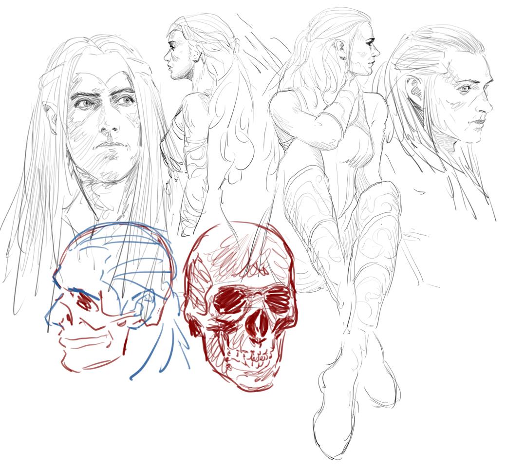 Recherches graphiques de Dagorath - Page 5 1565863018-elves-sketchs