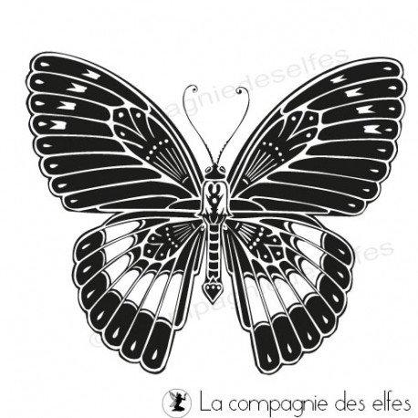carte noel et nouvel an. Tampon-papillon-sublime-nm