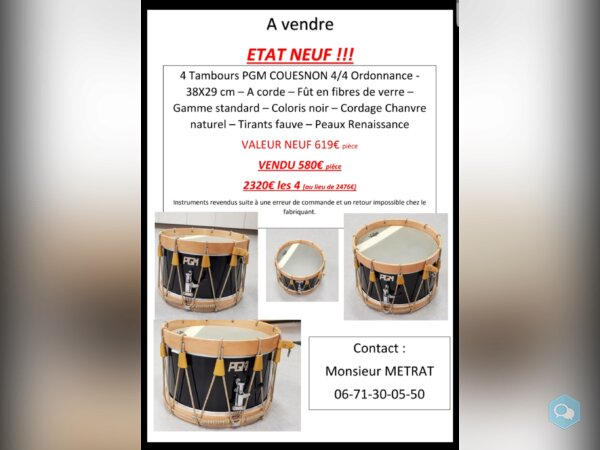 Vente tambours neufs - img