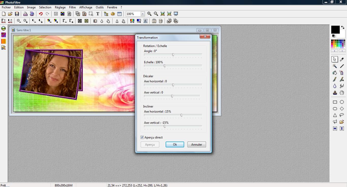 Comment faire pencher une image, avec Photofiltre.  3641507