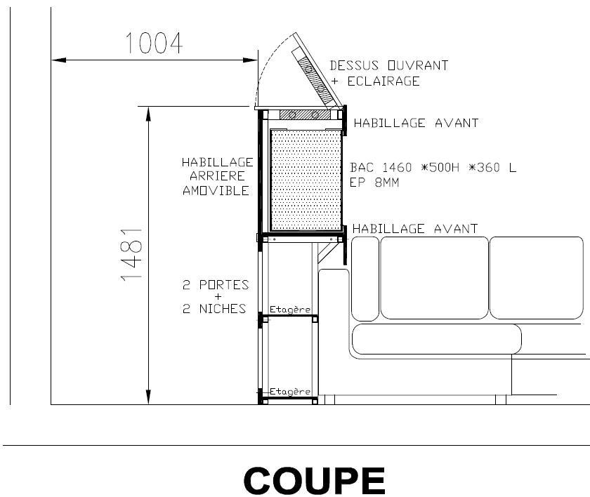 SUR MESURE: Démarrage bac encastré et son meuble. 764771COUPE