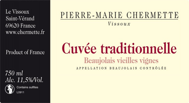 Partage du Domaine du Vissoux Beaujolais Cuvée Traditionnelle 2011 201194beaujolaiscuveetraditionnelle