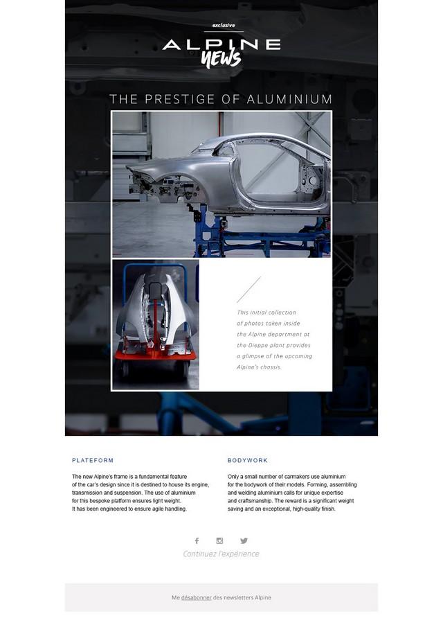 La future Alpine de route aura un châssis dédié et une carrosserie en aluminium pour lui conférer légèreté et agilité 3234098627316