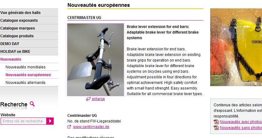 Extension pour poignée de frein [Trouvée!] 428911eurobikecentrimaster