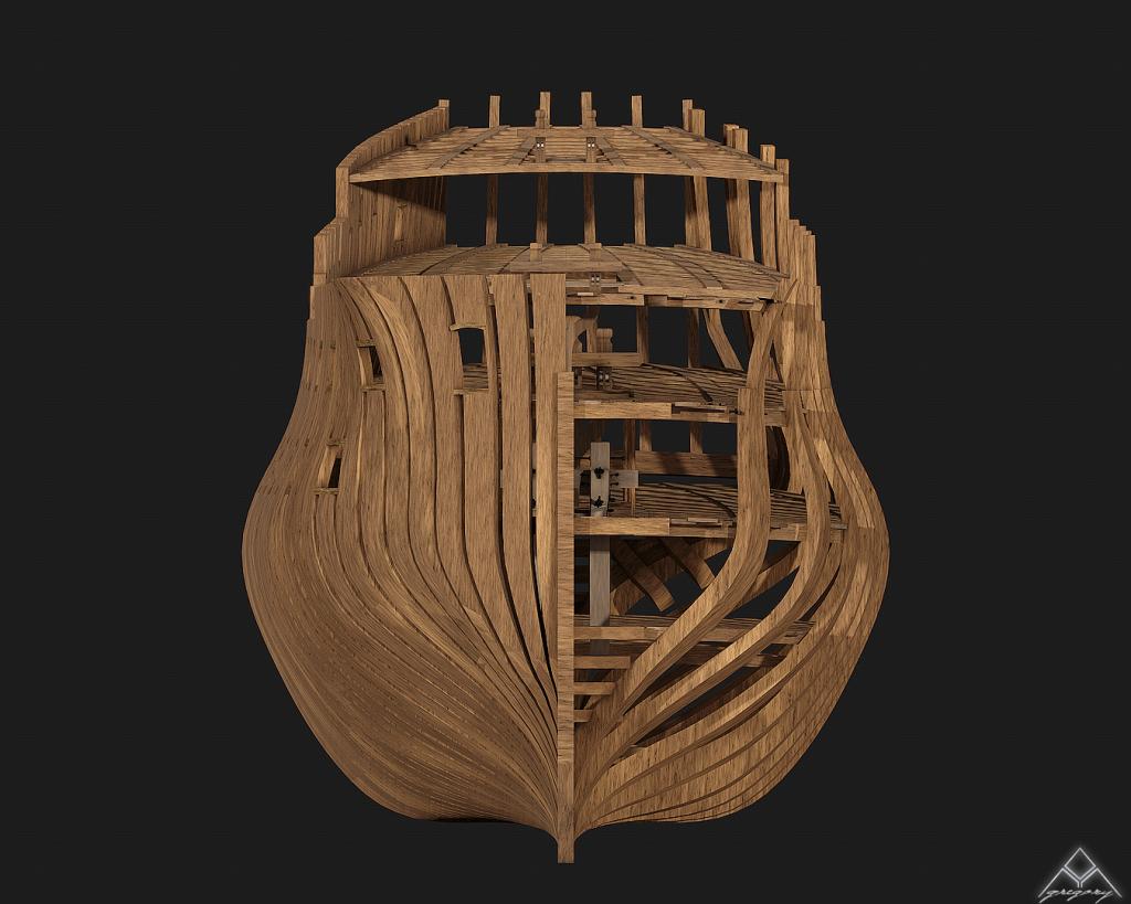 Vaisseau 74 canons Lucide [Création 3D] de Greg_3D - Page 4 442041Squelettevueface1