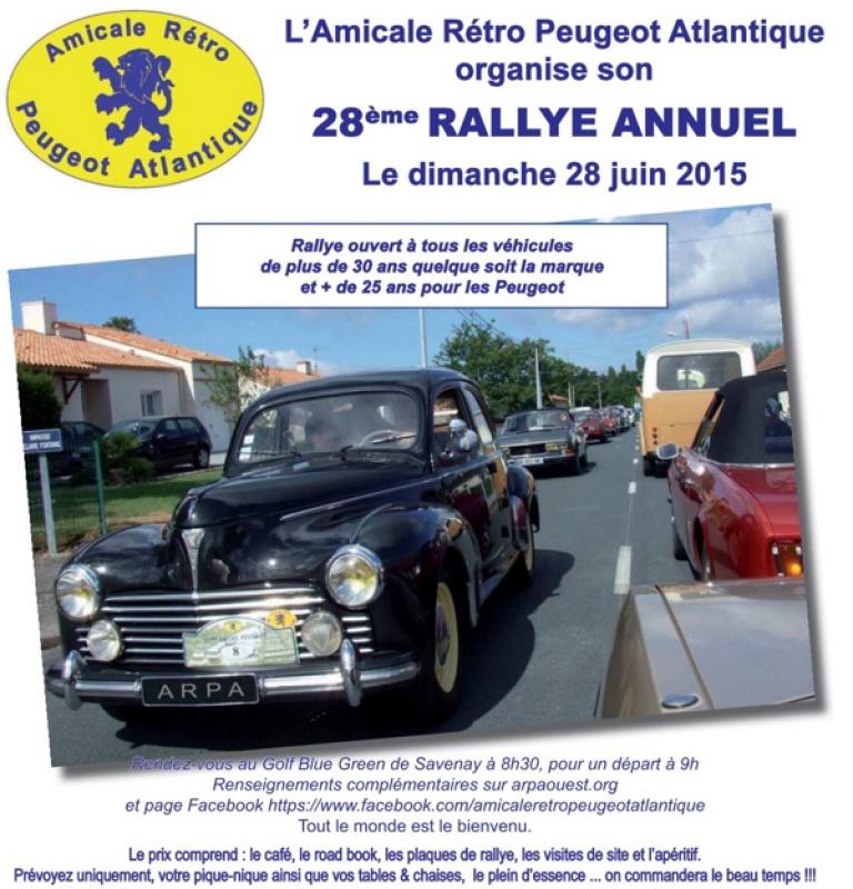 28 Juin - 28ème Rallye de l'Amicale Rétro Peugeot Atlantique 451315AfficheARPA2015