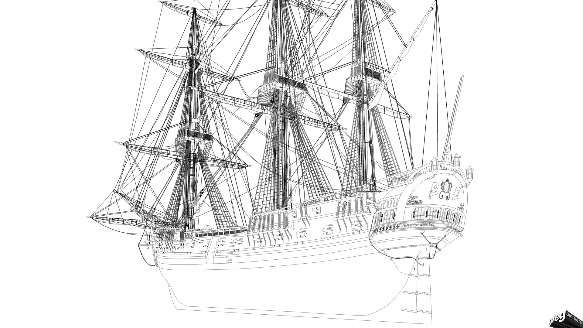 Frégate 36 canons XVIII° [Création 3D] par Greg_3D - Page 4 500584Frgatefilaire