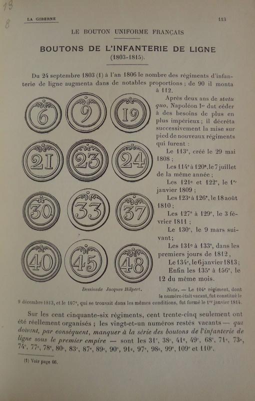 les boutons de l'infanterie de ligne 1804 - 1815 501297DSC01837
