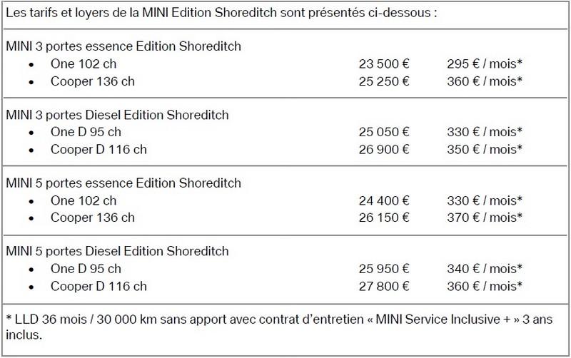 Nouvelle MINI Edition Shoreditch : à partir de 295 € / mois* sans apport et avec entretien inclus, jusqu'à la fin de l'année 540675minieditionshoreditch