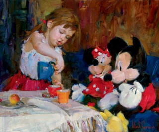 [Collection] Disney Fine Art de Collectors Editions (artworks) 552879Teatime20with20Mickey20and20Minnie2020x24