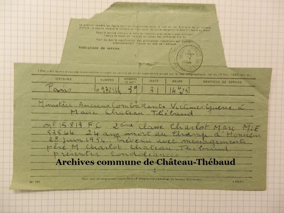 Soldat Marc CHARLOT MPLF le 28 Juin 1954 Régiment de Corée/GM100 565921P1140021