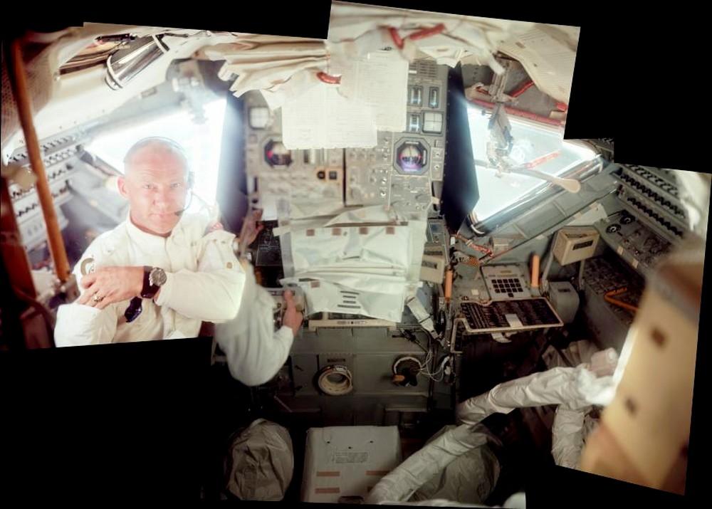 Photo de l'intérieur du LM Aigle, d'Apollo 11 606663AS11AldrinNASAHancock