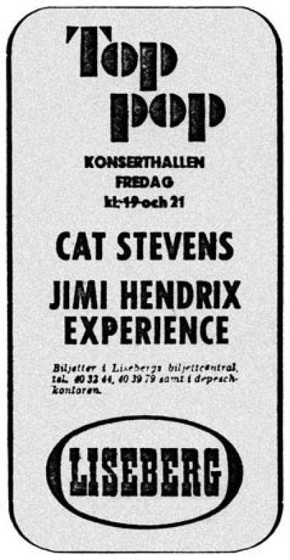 Göteborg, Konserthallen, Liseberg Nöjespark, Vaster Gotland,  Suède : 19 mai 1967  [Premier concert] 606845195