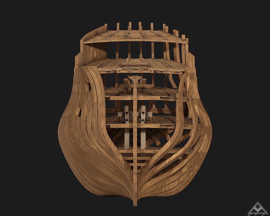 Vaisseau 74 canons Lucide [Création 3D] de Greg_3D - Page 4 609271Squelettevueface2