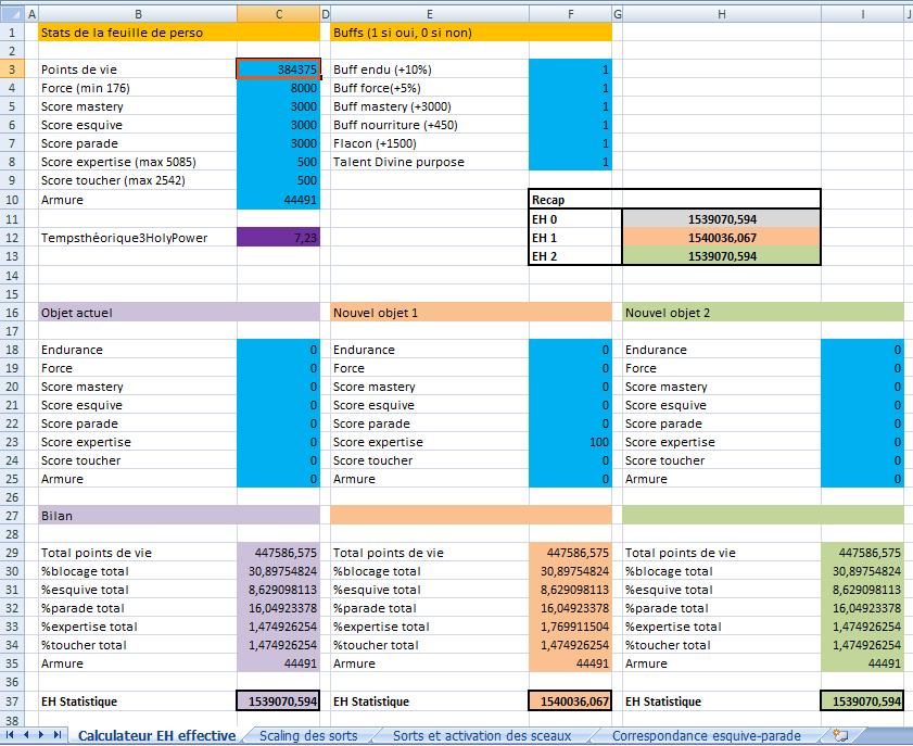 [Joueur expérimenté] Calculateur d'EH Statistique et comparateur d'objet Excel 655603Excel1