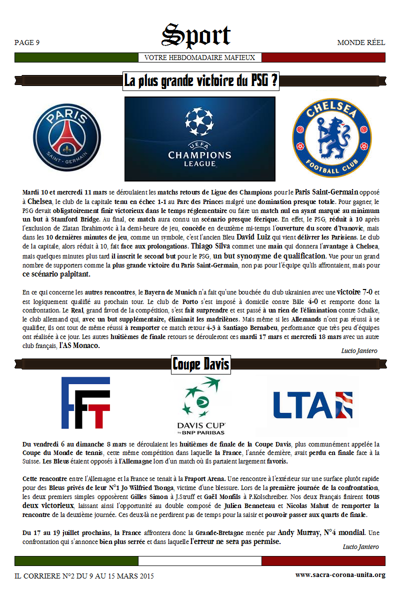 Il Corriere N°2 du 9 au 15 mars 2015 718990Sport2