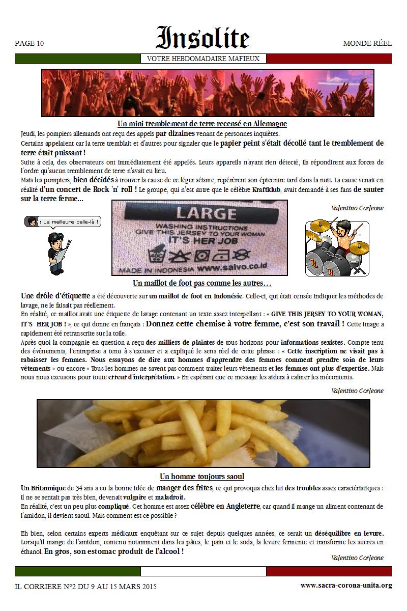 Il Corriere N°2 du 9 au 15 mars 2015 730468Insolite
