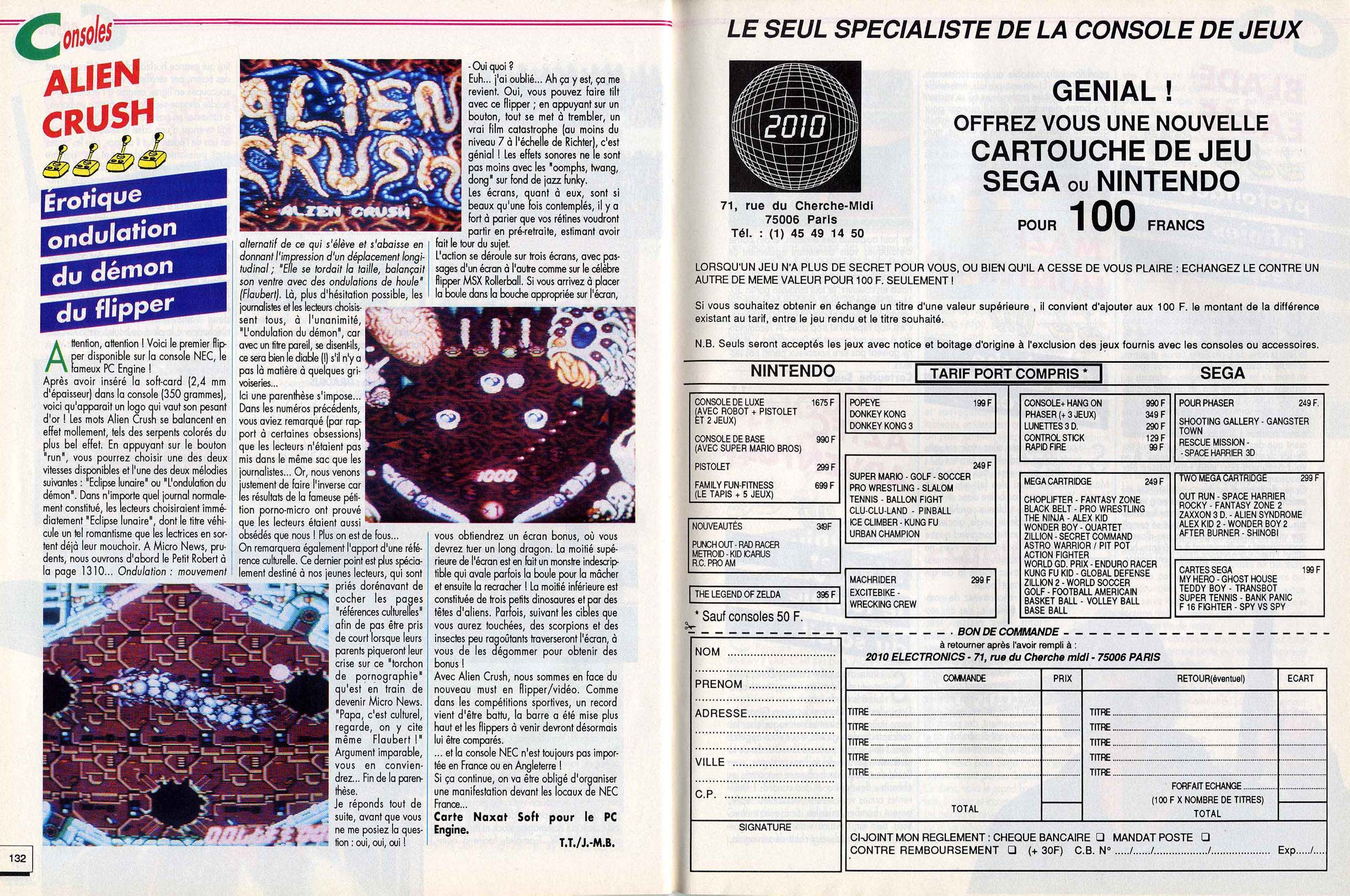Tentative liste Line Up France Sega Master System printemps 87. - Page 3 748253micronewsn15novembre1988page132etpage133